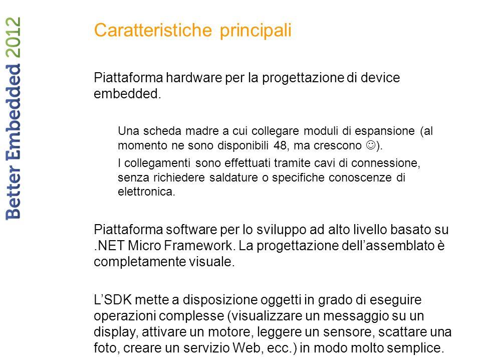 Caratteristiche principali Piattaforma hardware per la progettazione di device embedded.