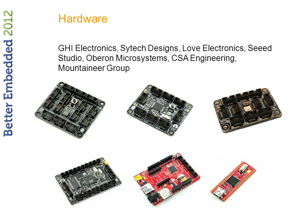Hardware GHI Electronics, Sytech Designs, Love Electronics, Seeed Studio, Oberon Microsystems, CSA Engineering, Mountaineer Group