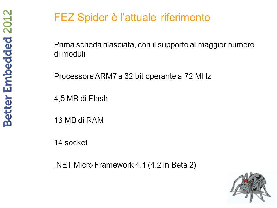 FEZ Spider è lattuale riferimento Prima scheda rilasciata, con il supporto al maggior numero di moduli Processore ARM7 a 32 bit operante a 72 MHz 4,5 MB di Flash 16 MB di RAM 14 socket.NET Micro Framework 4.1 (4.2 in Beta 2)
