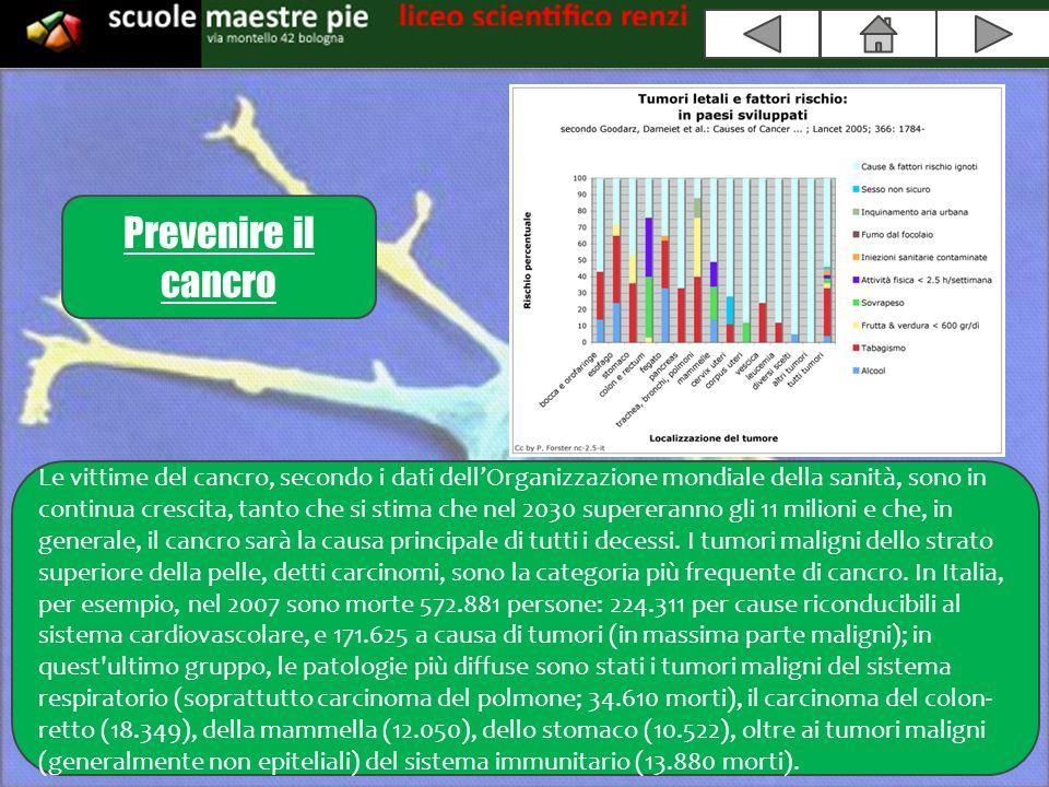 Prevenire il cancro Le vittime del cancro, secondo i dati dellOrganizzazione mondiale della sanità, sono in continua crescita, tanto che si stima che nel 2030 supereranno gli 11 milioni e che, in generale, il cancro sarà la causa principale di tutti i decessi.