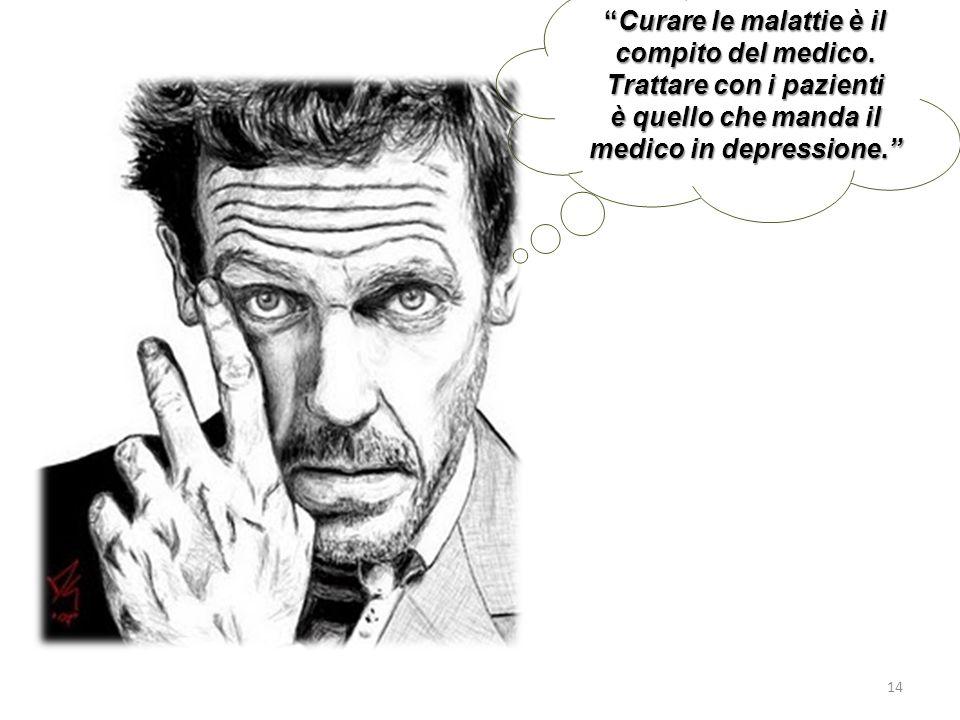 Curare le malattie è il compito del medico. Trattare con i pazienti è quello che manda il medico in depressione.Curare le malattie è il compito del me