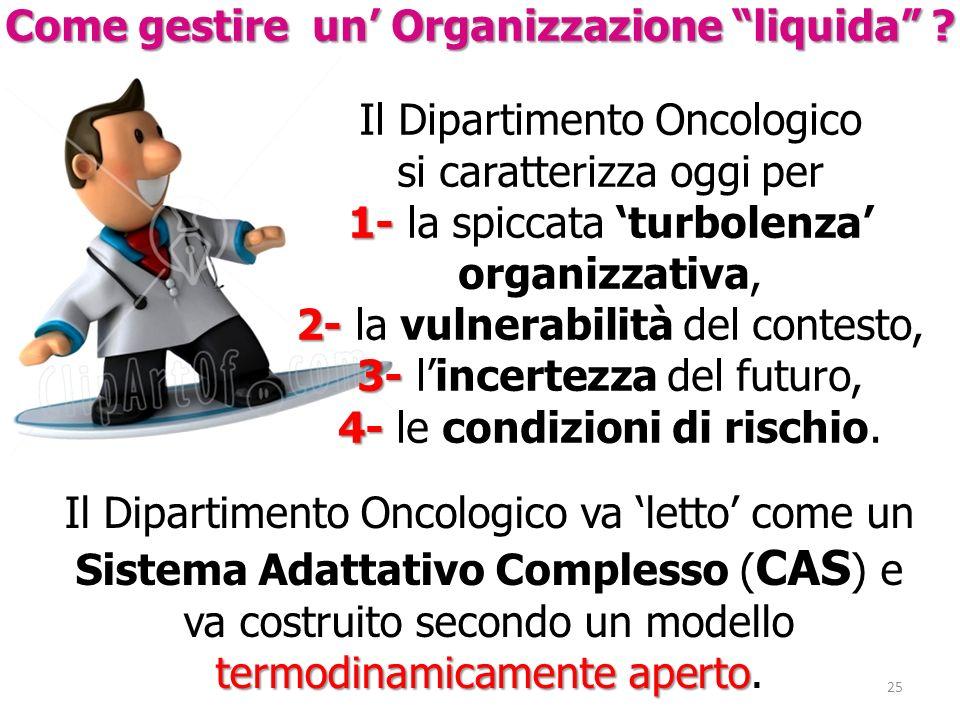Il Dipartimento Oncologico si caratterizza oggi per 1- 1- la spiccata turbolenza organizzativa, 2- 2- la vulnerabilità del contesto, 3- 3- lincertezza
