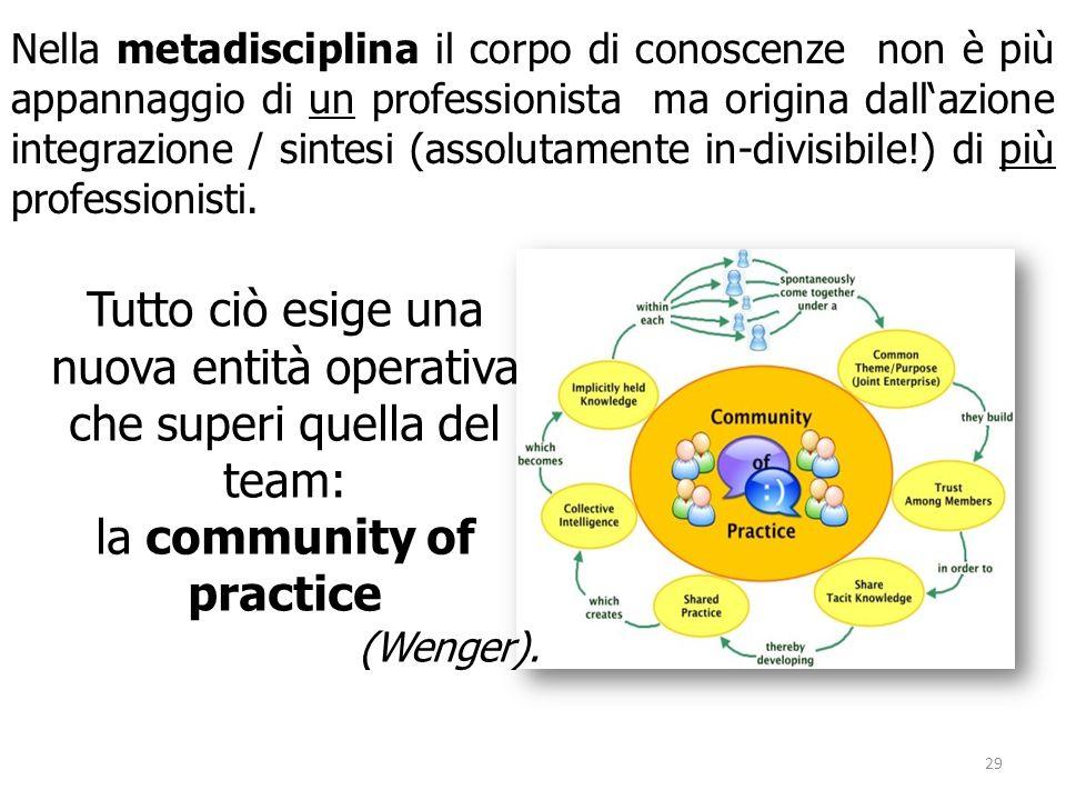 Nella metadisciplina il corpo di conoscenze non è più appannaggio di un professionista ma origina dallazione integrazione / sintesi (assolutamente in-