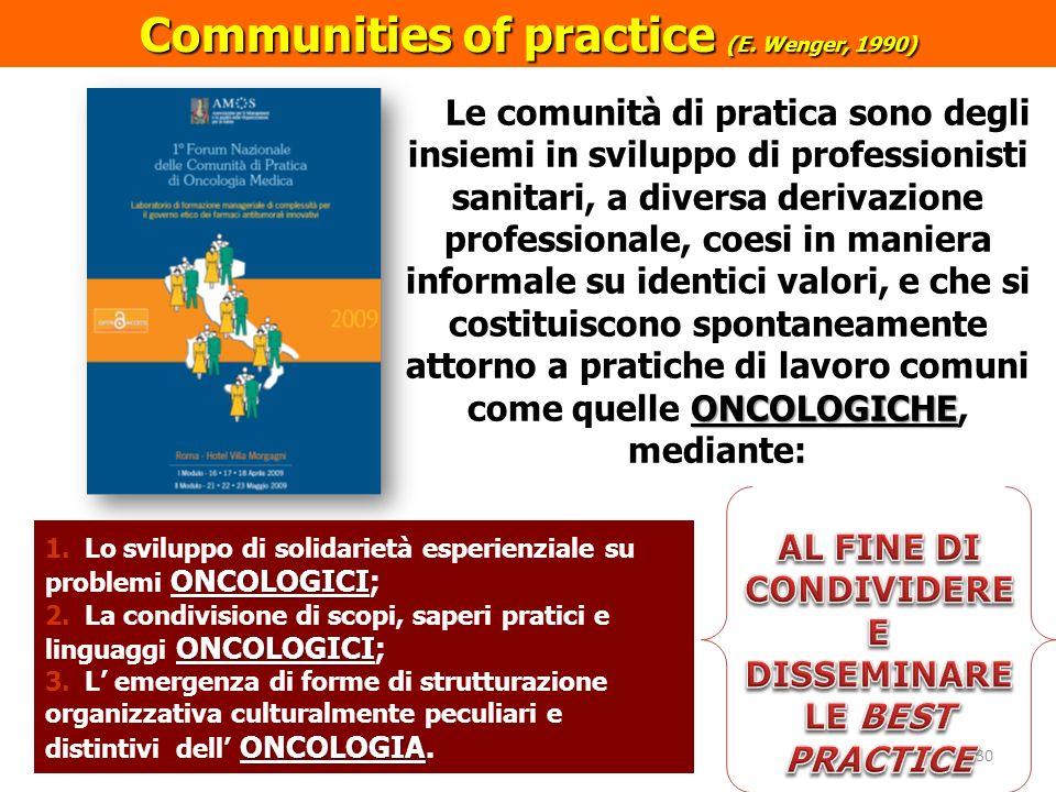 ONCOLOGICHE Le comunità di pratica sono degli insiemi in sviluppo di professionisti sanitari, a diversa derivazione professionale, coesi in maniera in