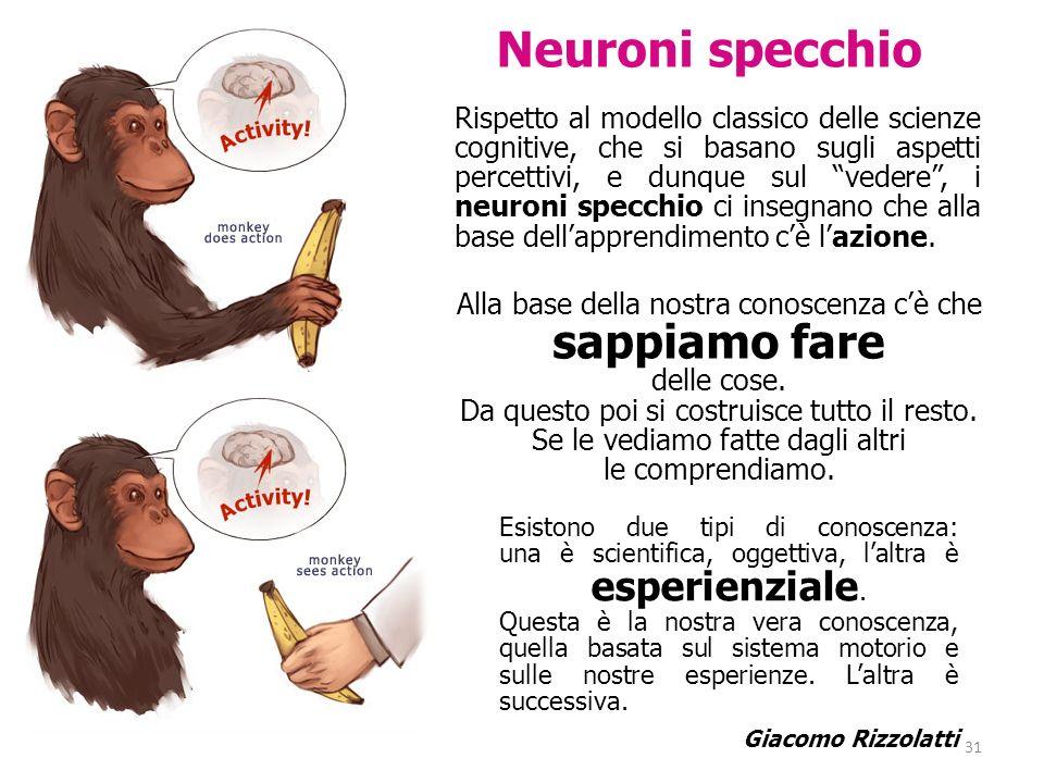Rispetto al modello classico delle scienze cognitive, che si basano sugli aspetti percettivi, e dunque sul vedere, i neuroni specchio ci insegnano che