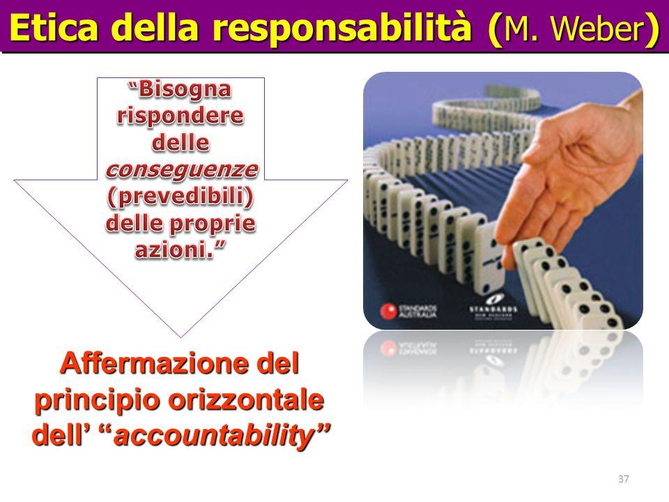Etica della responsabilità ( M. Weber ) Affermazione del principio orizzontale dell accountability 37