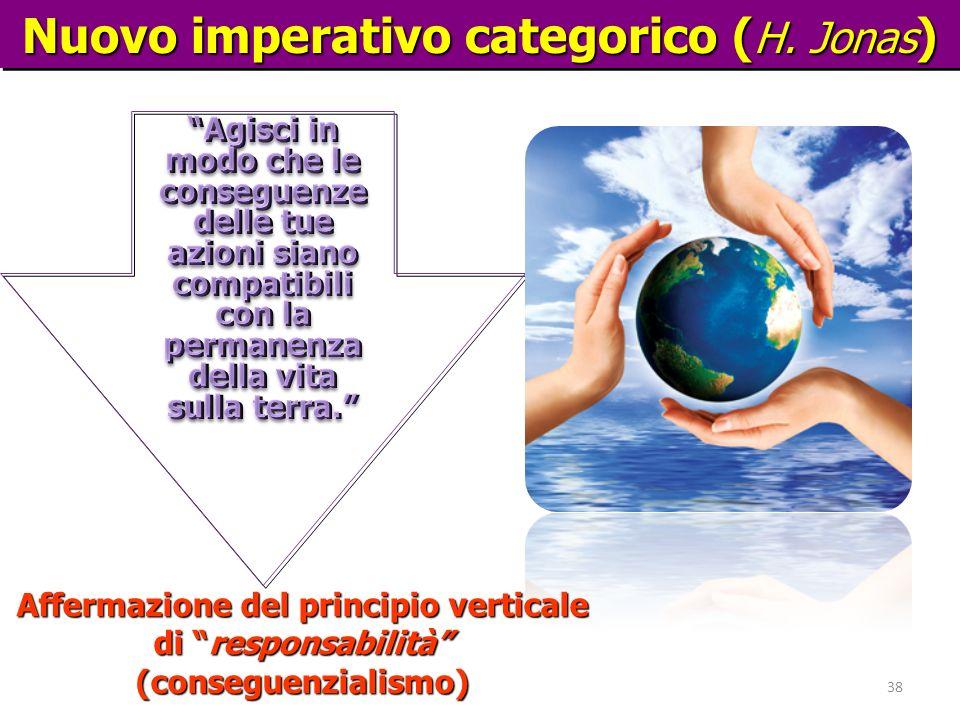 Hans Jonas Nuovo imperativo categorico ( H. Jonas ) 38 Affermazione del principio verticale di responsabilità (conseguenzialismo)