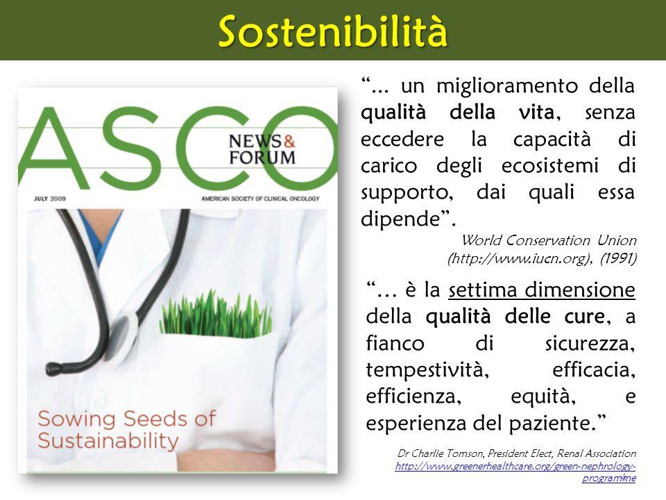4Sostenibilità … è la settima dimensione della qualità delle cure, a fianco di sicurezza, tempestività, efficacia, efficienza, equità, e esperienza de