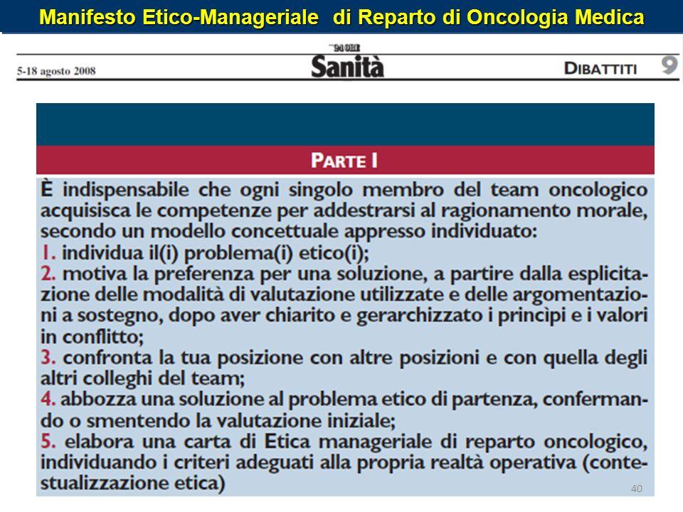 Manifesto Etico-Manageriale di Reparto di Oncologia Medica 40