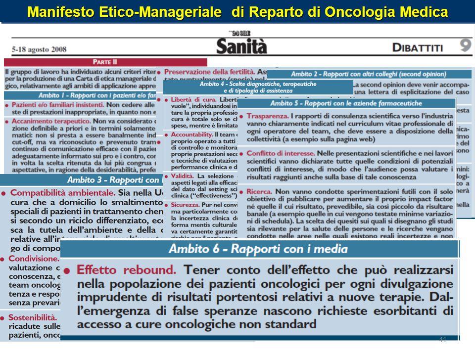 Manifesto Etico-Manageriale di Reparto di Oncologia Medica 41