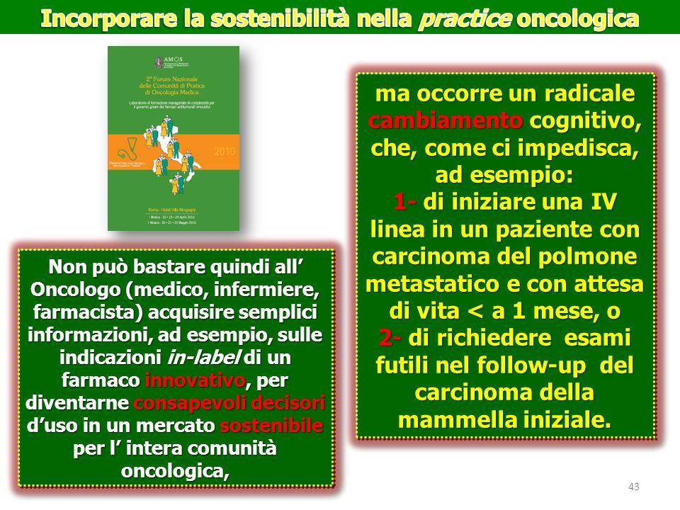 Non può bastare quindi all Oncologo (medico, infermiere, farmacista) acquisire semplici informazioni, ad esempio, sulle indicazioni in-label di un far