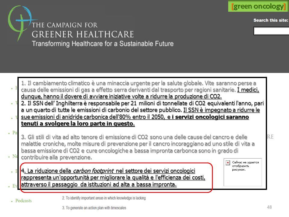 [green oncology] 1. Il cambiamento climatico è una minaccia urgente per la salute globale. Vite saranno perse a causa delle emissioni di gas a effetto