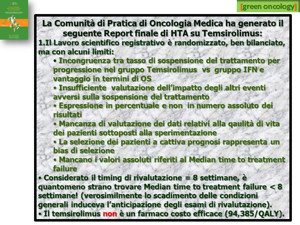 La Comunità di Pratica di Oncologia Medica ha generato il seguente Report finale di HTA su Temsirolimus: 1.Il Lavoro scientifico registrativo è random