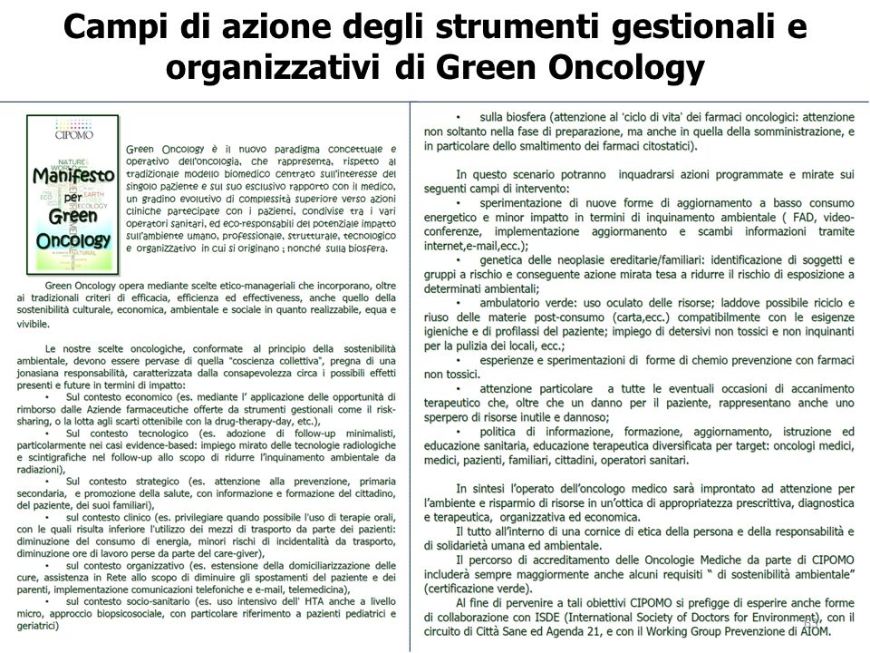 Campi di azione degli strumenti gestionali e organizzativi di Green Oncology 63