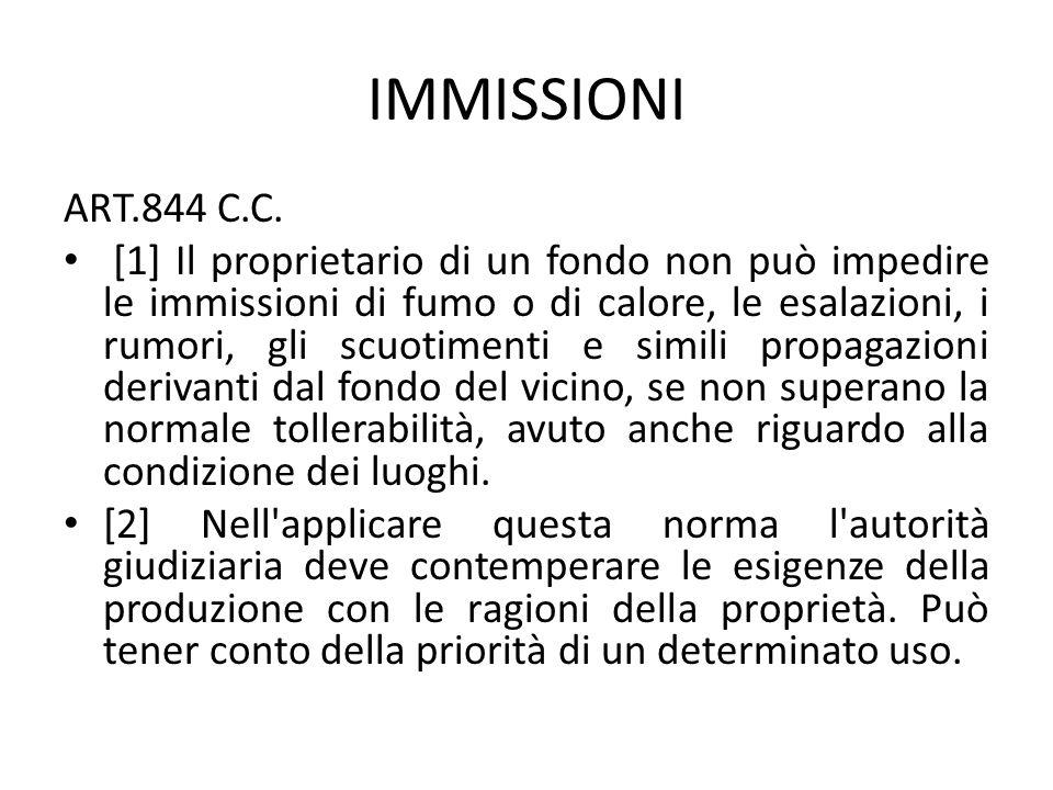IMMISSIONI ART.844 C.C. [1] Il proprietario di un fondo non può impedire le immissioni di fumo o di calore, le esalazioni, i rumori, gli scuotimenti e