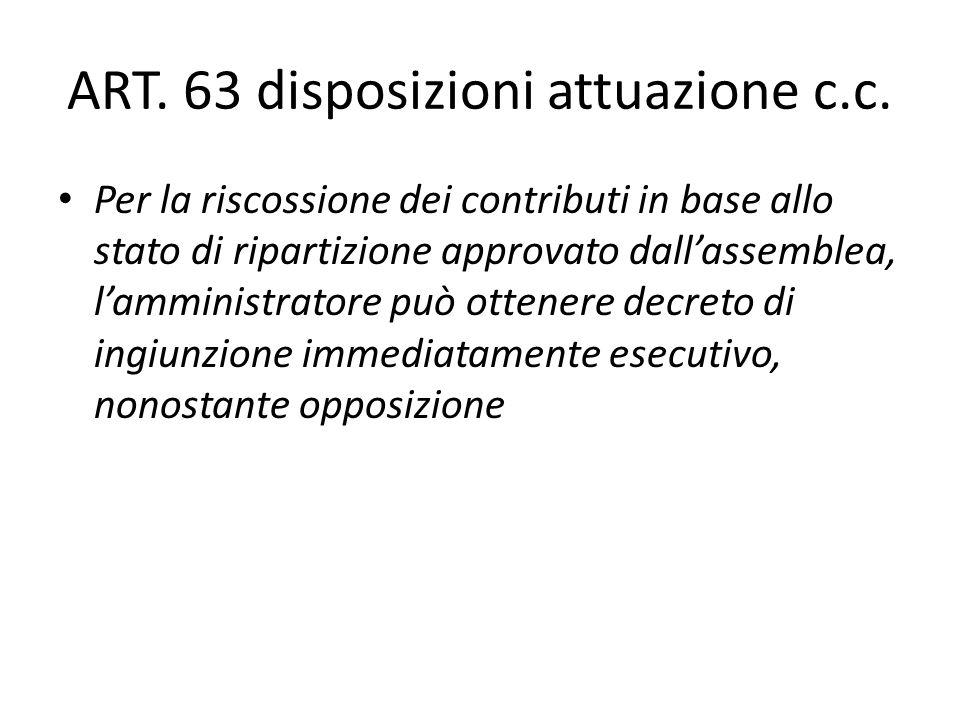 ART. 63 disposizioni attuazione c.c. Per la riscossione dei contributi in base allo stato di ripartizione approvato dallassemblea, lamministratore può