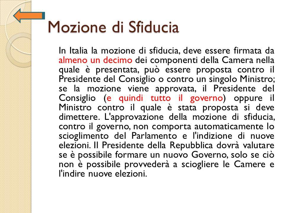 Mozione di Sfiducia In Italia la mozione di sfiducia, deve essere firmata da almeno un decimo dei componenti della Camera nella quale è presentata, pu