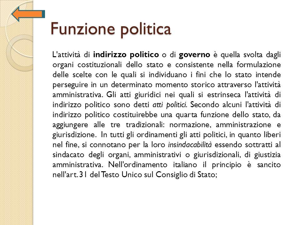 Funzione politica L'attività di indirizzo politico o di governo è quella svolta dagli organi costituzionali dello stato e consistente nella formulazio