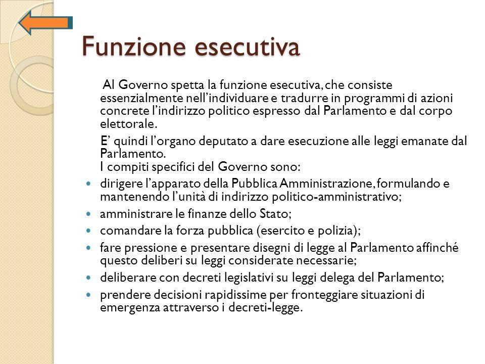 Funzione esecutiva Al Governo spetta la funzione esecutiva, che consiste essenzialmente nellindividuare e tradurre in programmi di azioni concrete lin