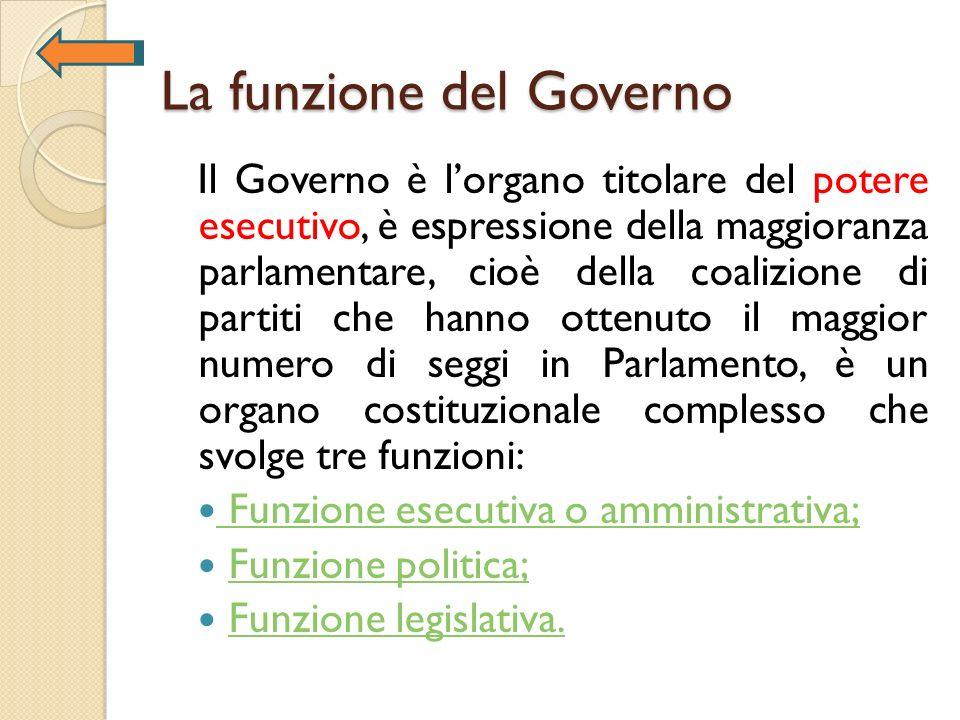 La funzione del Governo Il Governo è lorgano titolare del potere esecutivo, è espressione della maggioranza parlamentare, cioè della coalizione di par