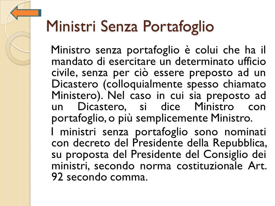 Ministri Senza Portafoglio Ministro senza portafoglio è colui che ha il mandato di esercitare un determinato ufficio civile, senza per ciò essere prep