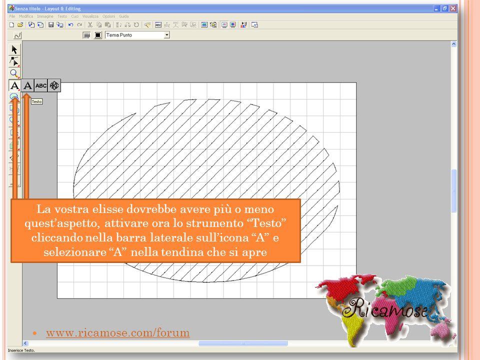 www.ricamose.com/forum La vostra elisse dovrebbe avere più o meno questaspetto, attivare ora lo strumento Testo cliccando nella barra laterale sullico