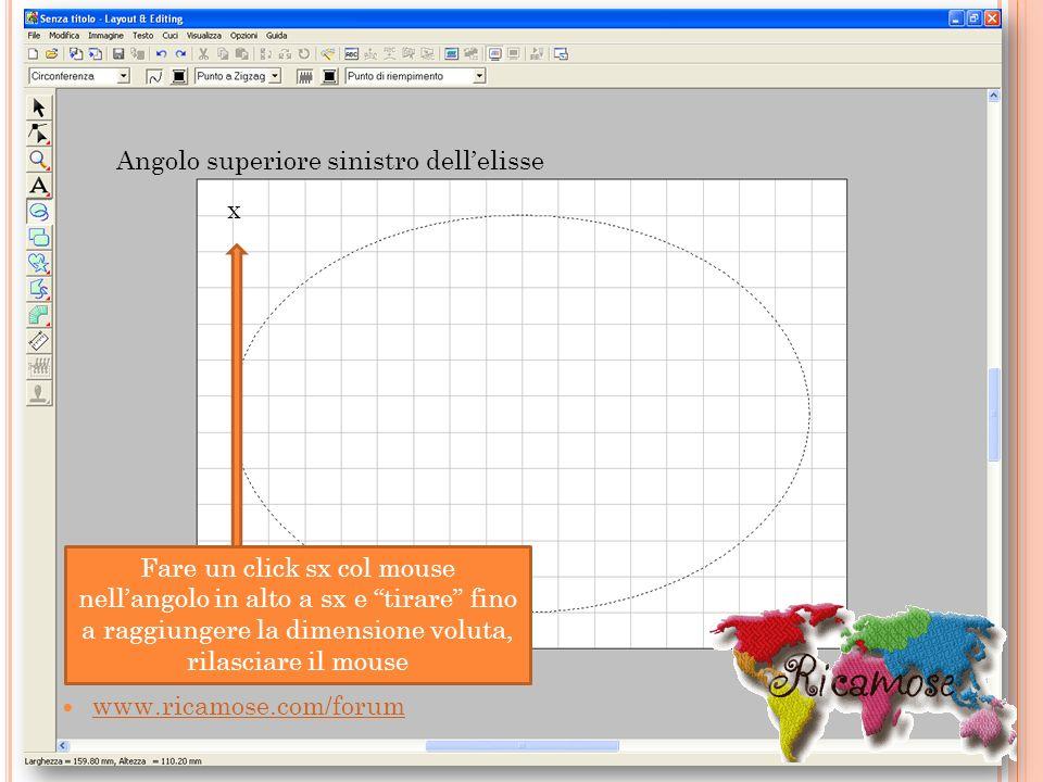 www.ricamose.com/forum Fare un click sx col mouse nellangolo in alto a sx e tirare fino a raggiungere la dimensione voluta, rilasciare il mouse Angolo