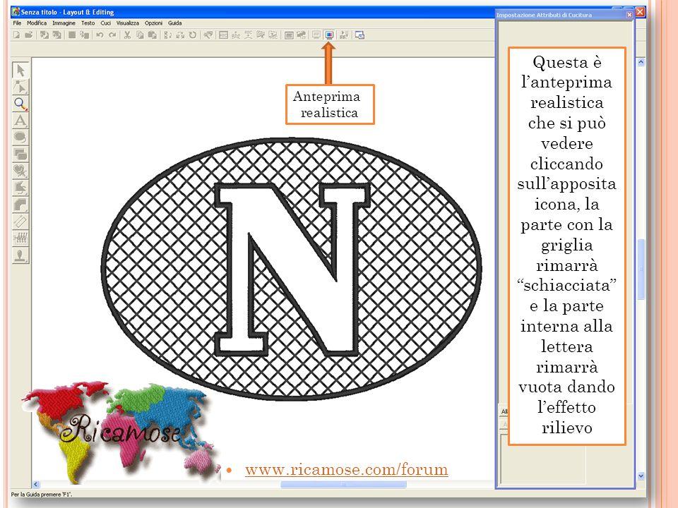 www.ricamose.com/forum Questa è lanteprima realistica che si può vedere cliccando sullapposita icona, la parte con la griglia rimarrà schiacciata e la