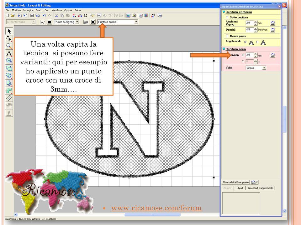 www.ricamose.com/forum Una volta capita la tecnica si possono fare varianti: qui per esempio ho applicato un punto croce con una croce di 3mm….