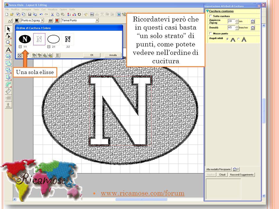 www.ricamose.com/forum Ricordatevi però che in questi casi basta un solo strato di punti, come potete vedere nellordine di cucitura Una sola elisse