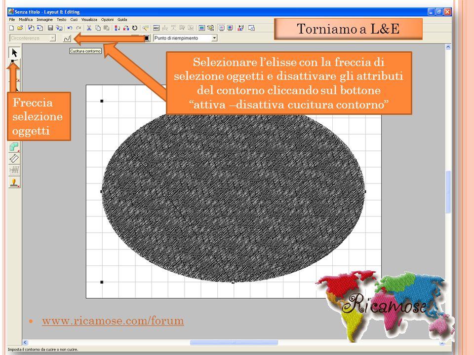 www.ricamose.com/forum Selezionare lelisse con la freccia di selezione oggetti e disattivare gli attributi del contorno cliccando sul bottone attiva –