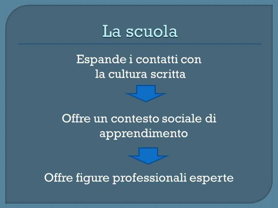 Espande i contatti con la cultura scritta Offre un contesto sociale di apprendimento Offre figure professionali esperte