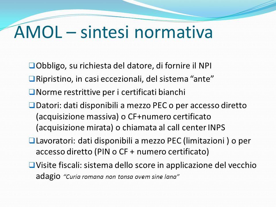 AMOL – sintesi normativa Obbligo, su richiesta del datore, di fornire il NPI Ripristino, in casi eccezionali, del sistema ante Norme restrittive per i