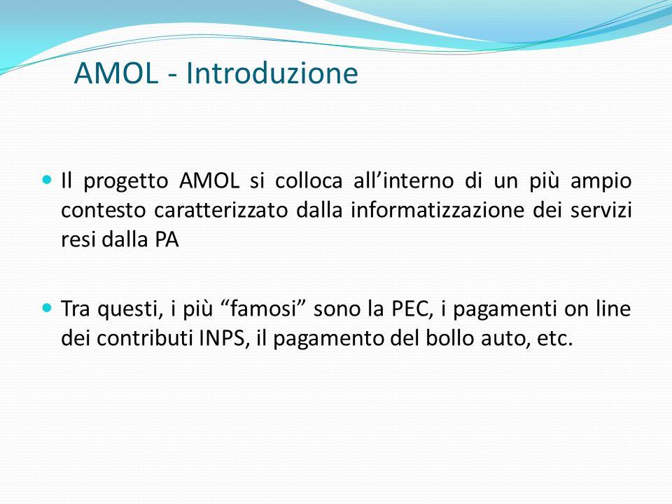 AMOL - Introduzione Il progetto AMOL si colloca allinterno di un più ampio contesto caratterizzato dalla informatizzazione dei servizi resi dalla PA T