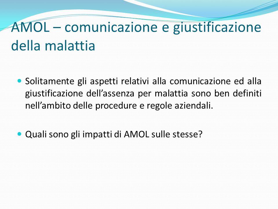 AMOL – comunicazione e giustificazione della malattia Solitamente gli aspetti relativi alla comunicazione ed alla giustificazione dellassenza per mala