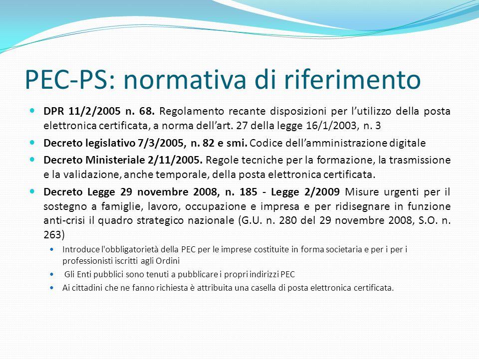 PEC-PS: normativa di riferimento DPR 11/2/2005 n. 68. Regolamento recante disposizioni per lutilizzo della posta elettronica certificata, a norma dell