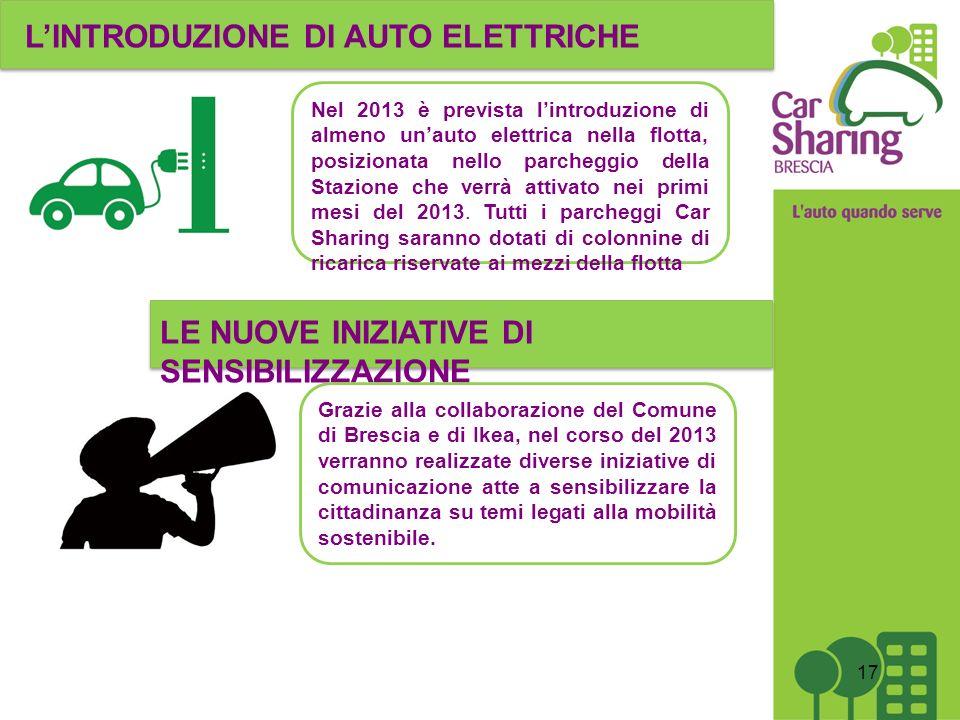 17 Nel 2013 è prevista lintroduzione di almeno unauto elettrica nella flotta, posizionata nello parcheggio della Stazione che verrà attivato nei primi mesi del 2013.