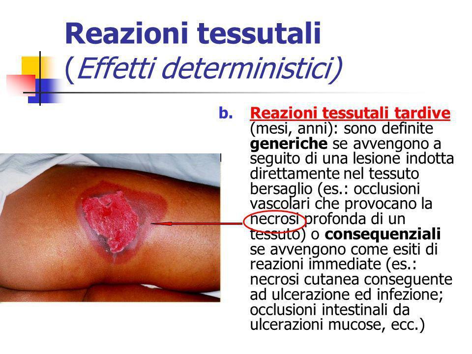Reazioni tessutali (Effetti deterministici) b.Reazioni tessutali tardive (mesi, anni): sono definite generiche se avvengono a seguito di una lesione i