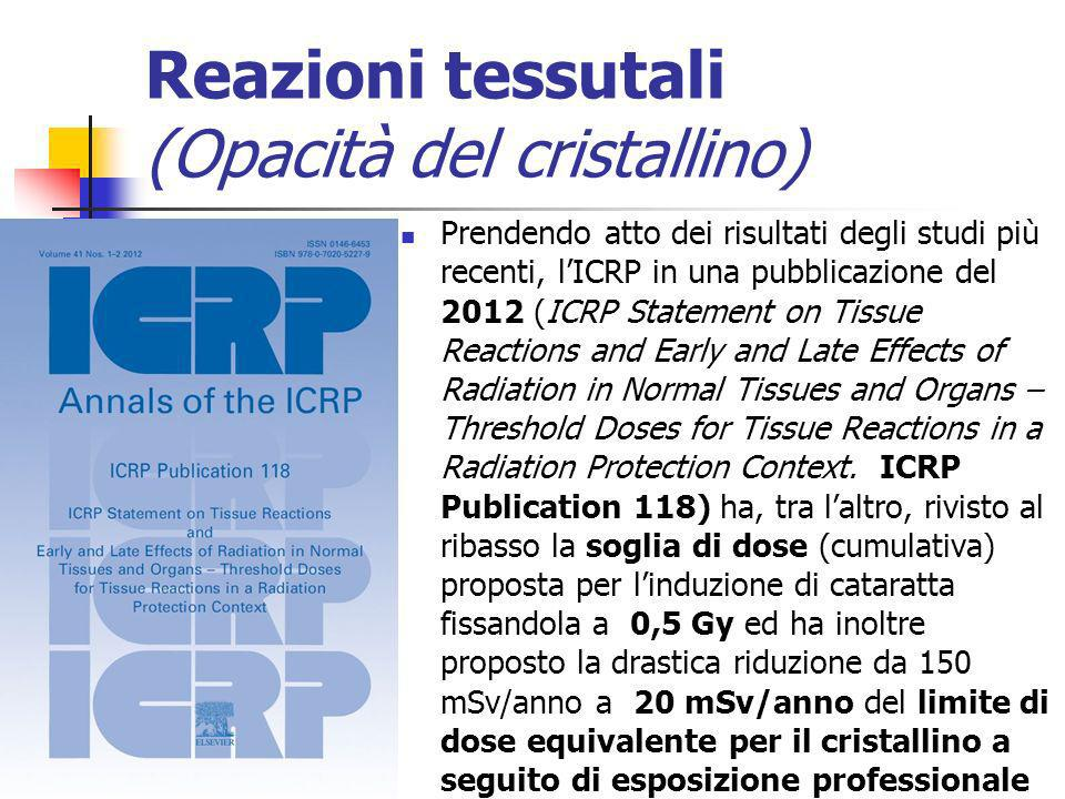 Reazioni tessutali (Opacità del cristallino) Prendendo atto dei risultati degli studi più recenti, lICRP in una pubblicazione del 2012 (ICRP Statement