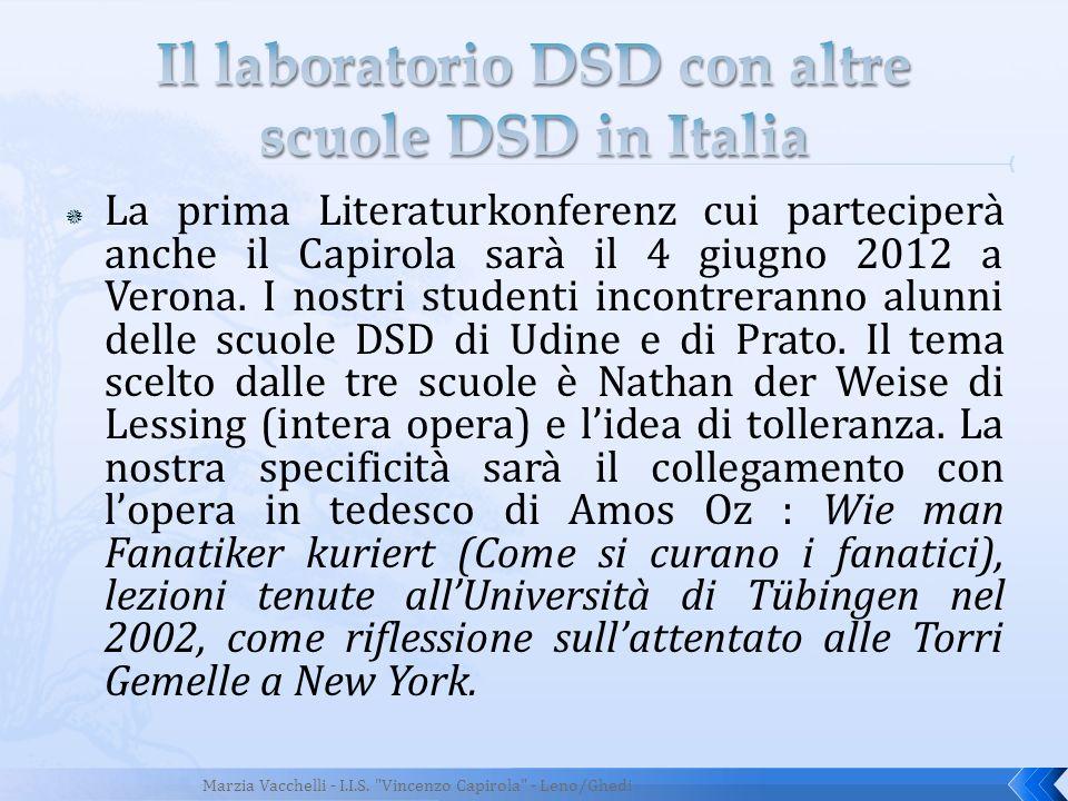 La prima Literaturkonferenz cui parteciperà anche il Capirola sarà il 4 giugno 2012 a Verona. I nostri studenti incontreranno alunni delle scuole DSD