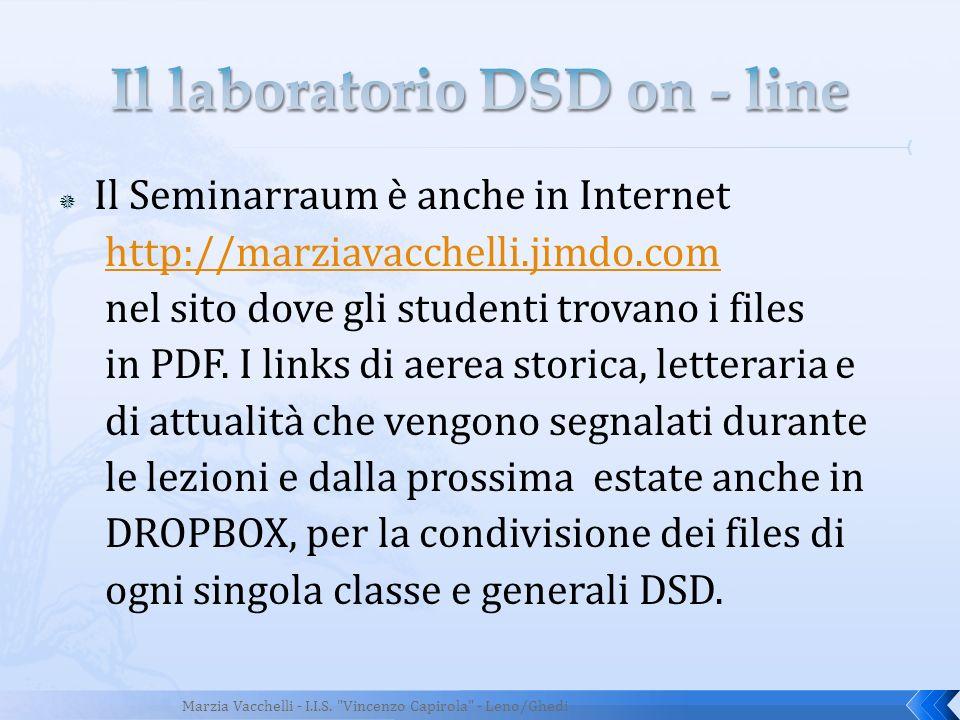 Il Seminarraum è anche in Internet http://marziavacchelli.jimdo.com nel sito dove gli studenti trovano i files in PDF. I links di aerea storica, lette
