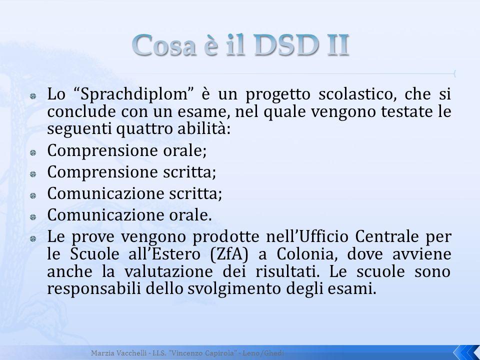 Lo Sprachdiplom è un progetto scolastico, che si conclude con un esame, nel quale vengono testate le seguenti quattro abilità: Comprensione orale; Com