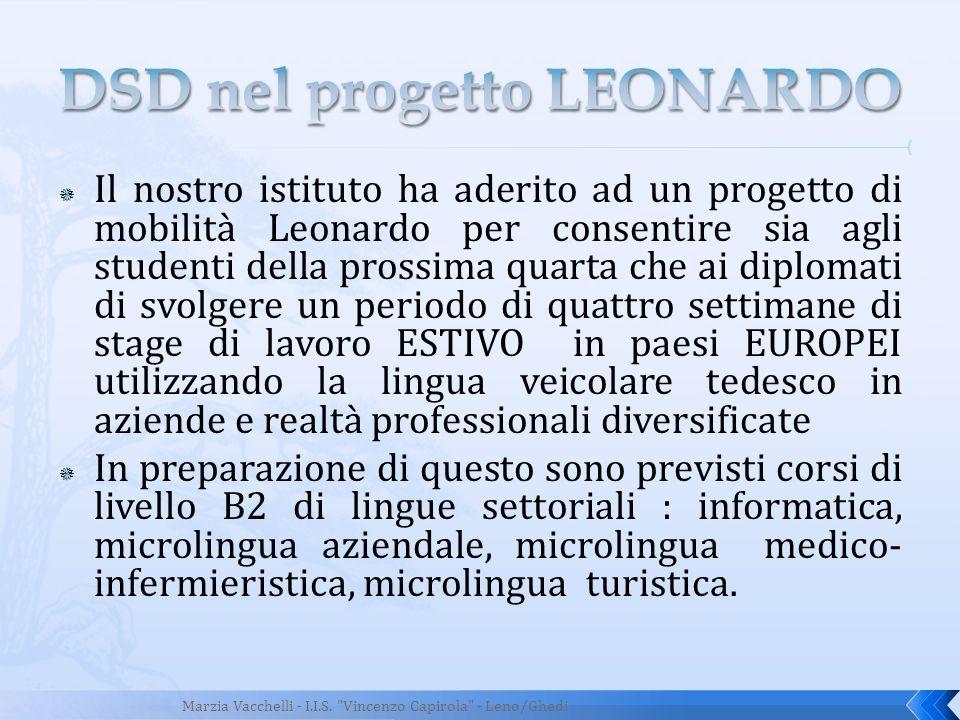Il nostro istituto ha aderito ad un progetto di mobilità Leonardo per consentire sia agli studenti della prossima quarta che ai diplomati di svolgere
