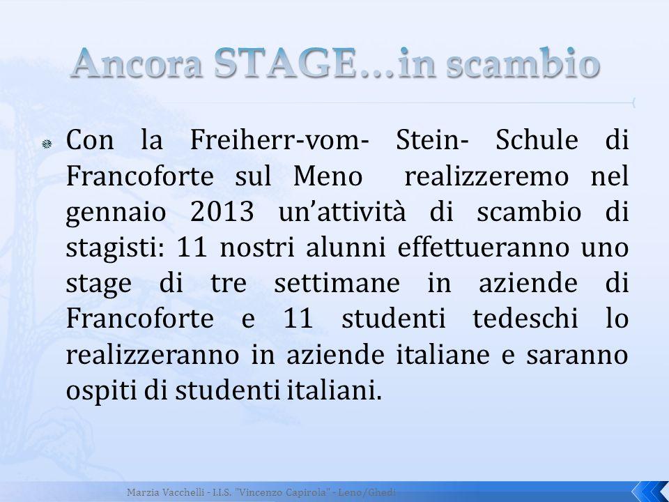 Con la Freiherr-vom- Stein- Schule di Francoforte sul Meno realizzeremo nel gennaio 2013 unattività di scambio di stagisti: 11 nostri alunni effettuer