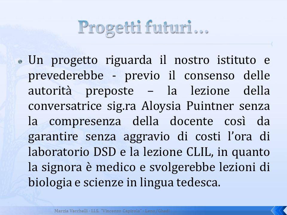 Un progetto riguarda il nostro istituto e prevederebbe - previo il consenso delle autorità preposte – la lezione della conversatrice sig.ra Aloysia Pu