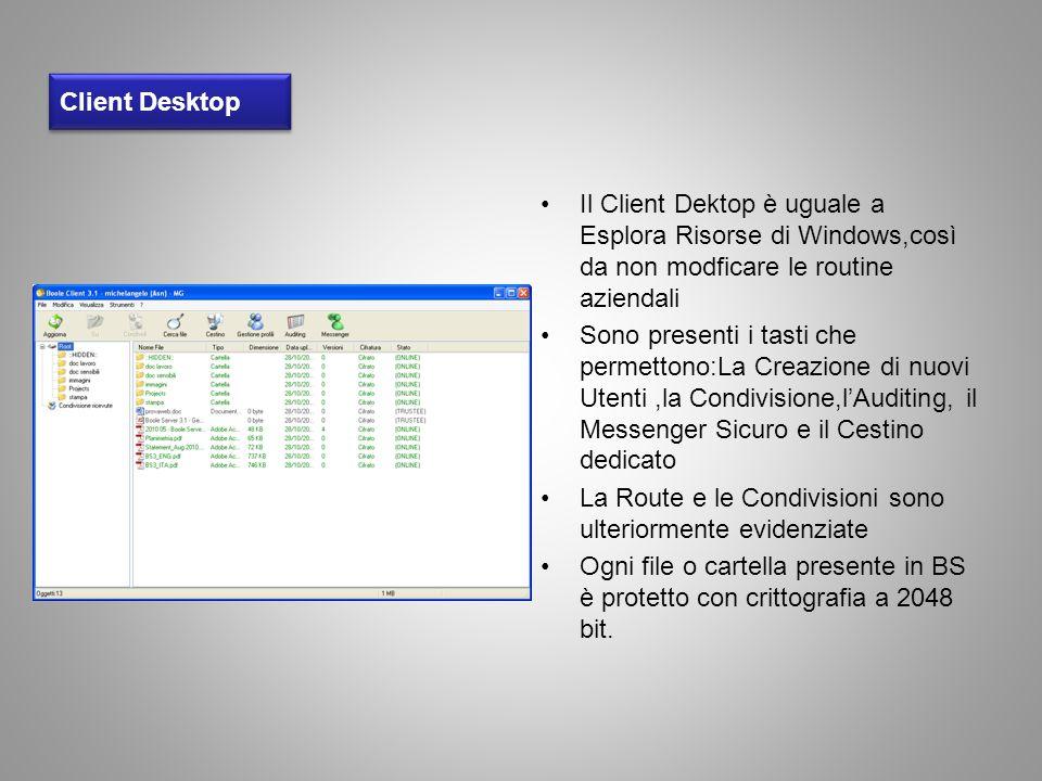 Client Desktop Il Client Dektop è uguale a Esplora Risorse di Windows,così da non modficare le routine aziendali Sono presenti i tasti che permettono: