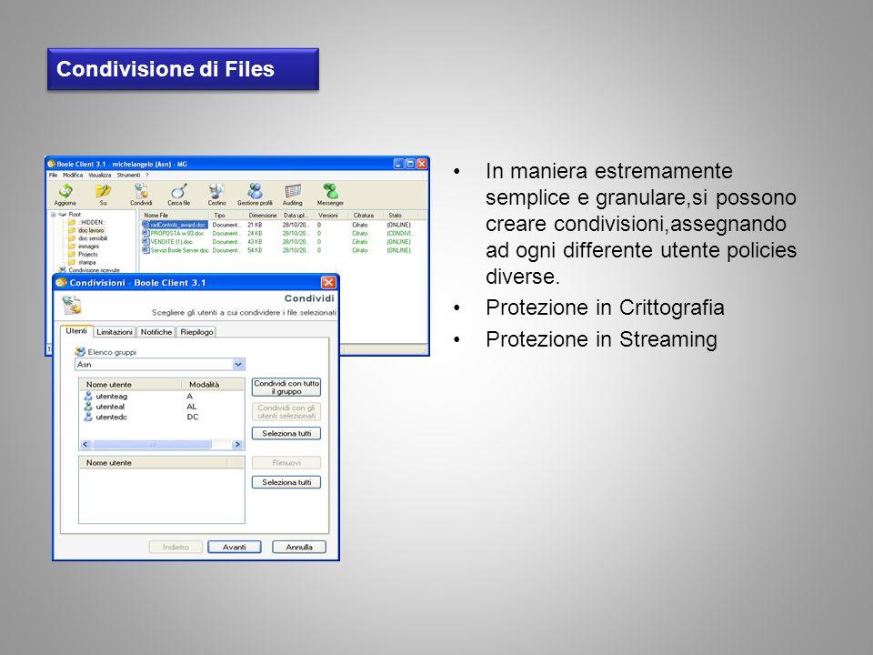 Condivisione di Files In maniera estremamente semplice e granulare,si possono creare condivisioni,assegnando ad ogni differente utente policies divers