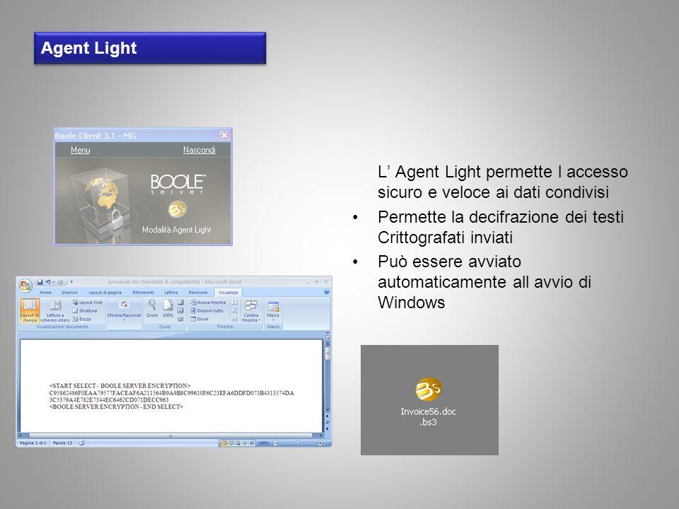 Agent Light L Agent Light permette l accesso sicuro e veloce ai dati condivisi Permette la decifrazione dei testi Crittografati inviati Può essere avv