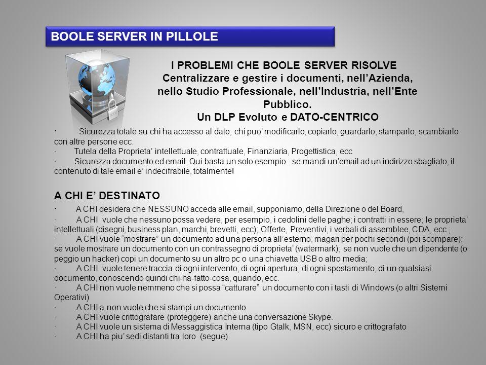 Ma CHI vuole anche: · Non dovere rivoluzionare il proprio sistema informatico · Accedere ai documenti da un Aereo o una Sede distaccata, con la stessa sicurezza e da un Notebook oppure un iPhone, iPad (o similare) (http://itunes.apple.com/ke/app/boole- server/id474210022?mt=8)http://itunes.apple.com/ke/app/boole- server/id474210022?mt=8 · Un accesso al controllo del software semplice, cosicche poter incaricare, come Supervisore una persona di fiducia (Es.