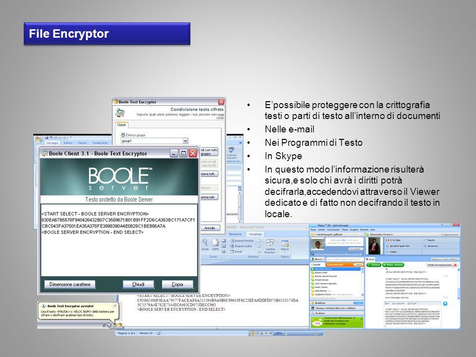 File Encryptor Epossibile proteggere con la crittografia testi o parti di testo allinterno di documenti Nelle e-mail Nei Programmi di Testo In Skype I